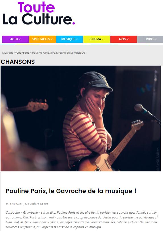 TouteLaCulture : Pauline Paris, le Gavroche de la musique