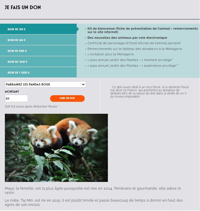 Faire les dons sur le site internet du Jardin des Plantes